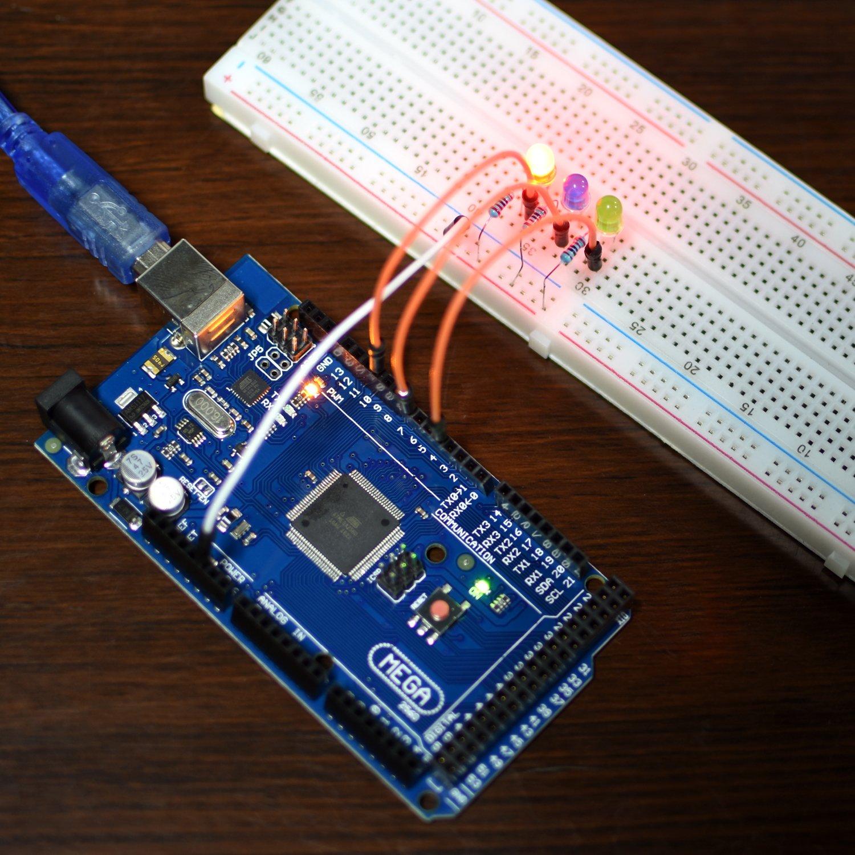 Kit de Mega2560 Arduino con Tutorial, UNIROI Kit de Inicio Más Completo con Sensor de Llama, Relé 5V, Tarjeta de Resistencia (242 Componentes) UA003: ...