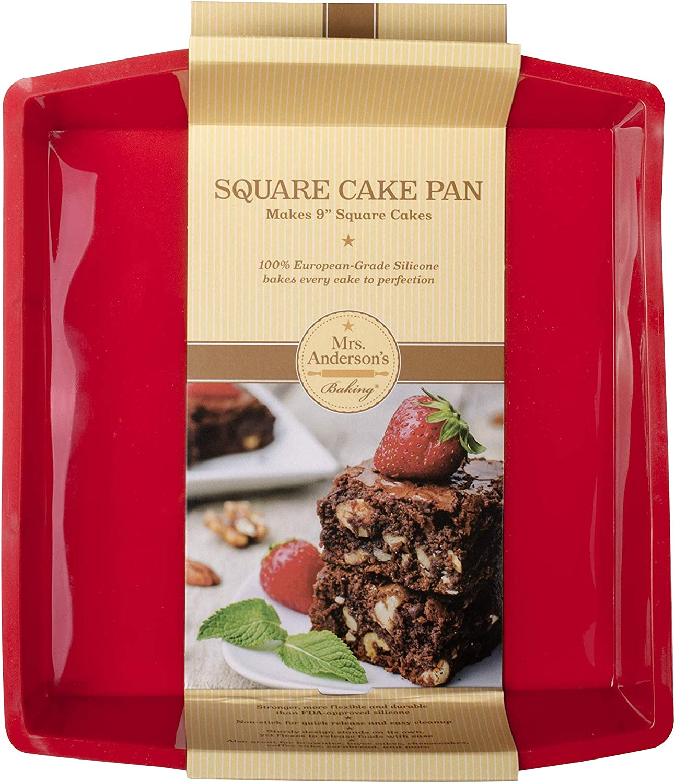 Andersons Baking 43636 9-Inch Square Cake Pan Non-Stick European-Grade Silicone Mrs