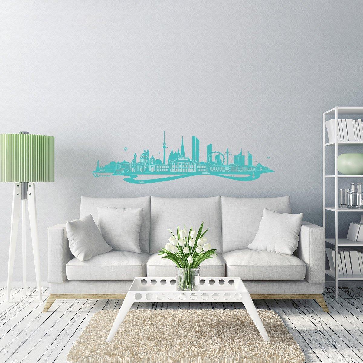 WANDKINGS Wandtattoo - Skyline Wien (mit Fluss) - 300 x x x 86 cm - Mittelgrau - Wähle aus 6 Größen & 35 Farben B078SGBX5G Wandtattoos & Wandbilder 75bb94