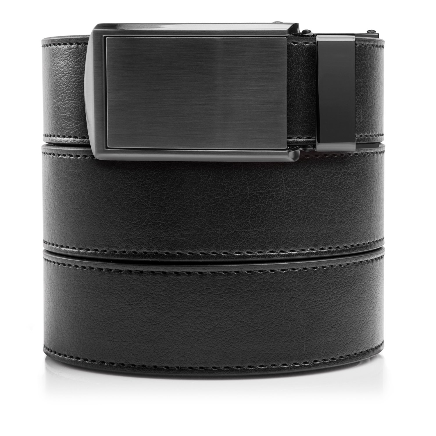 SlideBelts Men's Vegan Leather Belt without Holes - Gunmetal Buckle/Black Leather (Trim-to-fit: Up to 48'' Waist)
