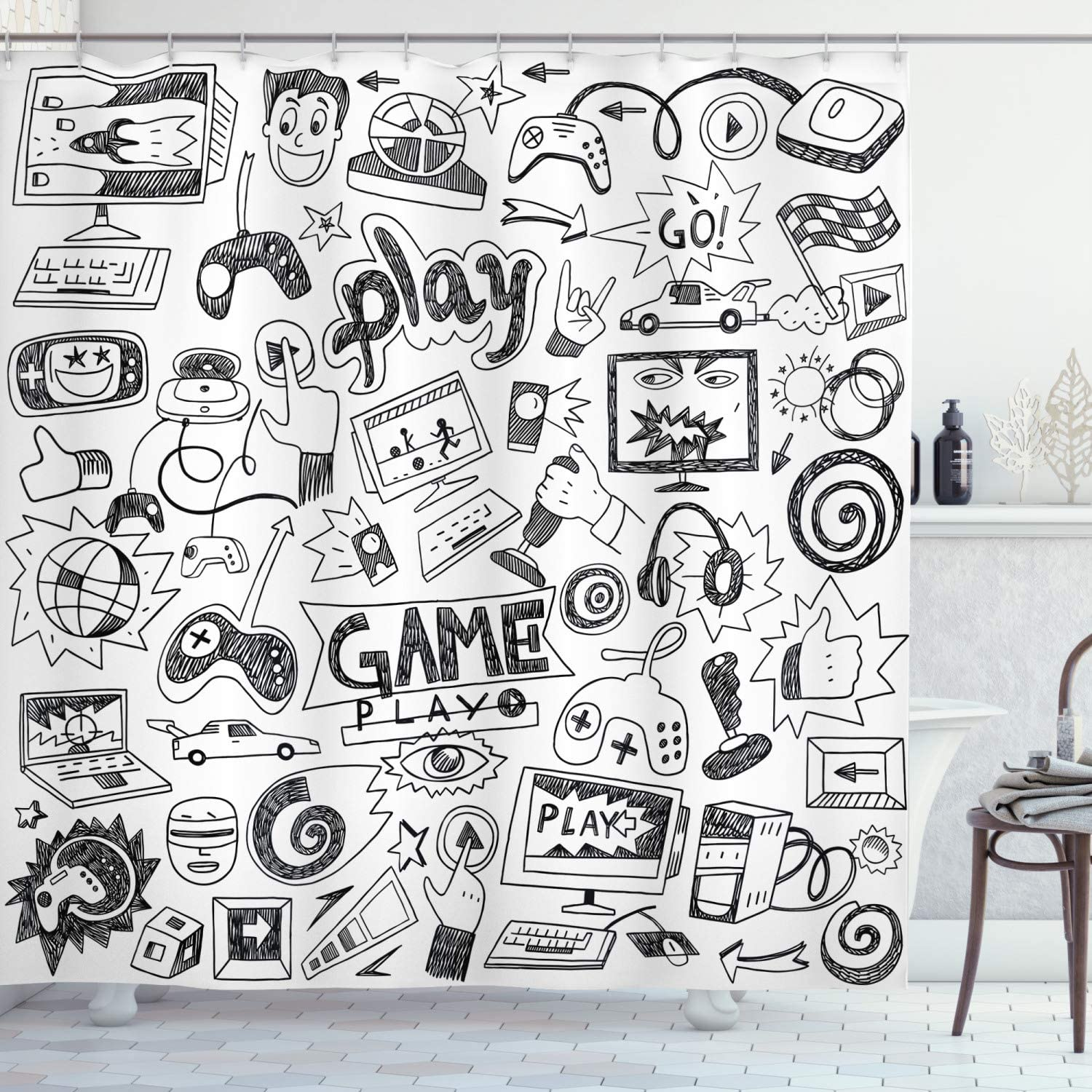 "Ambesonne Video Games Shower Curtain, Monochrome Sketch Style Gaming Design Racing Monitor Device Gadget Teen 90's, Cloth Fabric Bathroom Decor Set with Hooks, 70"" Long, Black White"