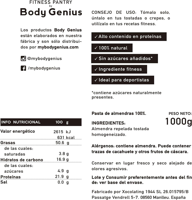 BODY GENIUS Manteca de Almendras. 1000g. Solo Almendras Tostadas. 100% Natural. Rica en Proteína y Fibra. Sin Azúcar y Sin Sal. Hecho en España.