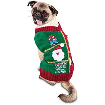 time for joy ugly christmas dog sweater with all the trimmings x large - Ugly Christmas Dog Sweater