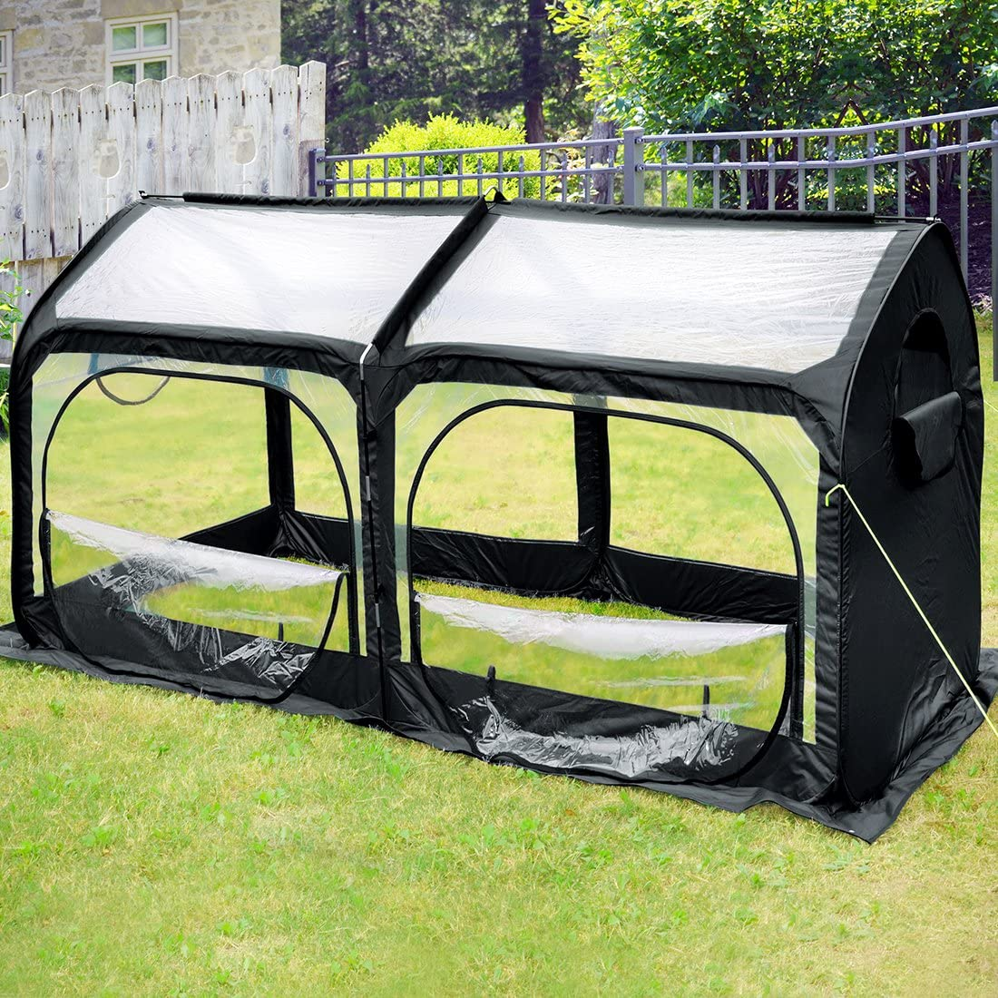 Quictent Pop up Greenhouse Passed SGS Test Eco-Friendly Fiberglass Poles Overlong Cover 6 Stakes 98 x 49 x 53 Inches Mini Portable Green House W/ 2 Zipper Doors (Black)