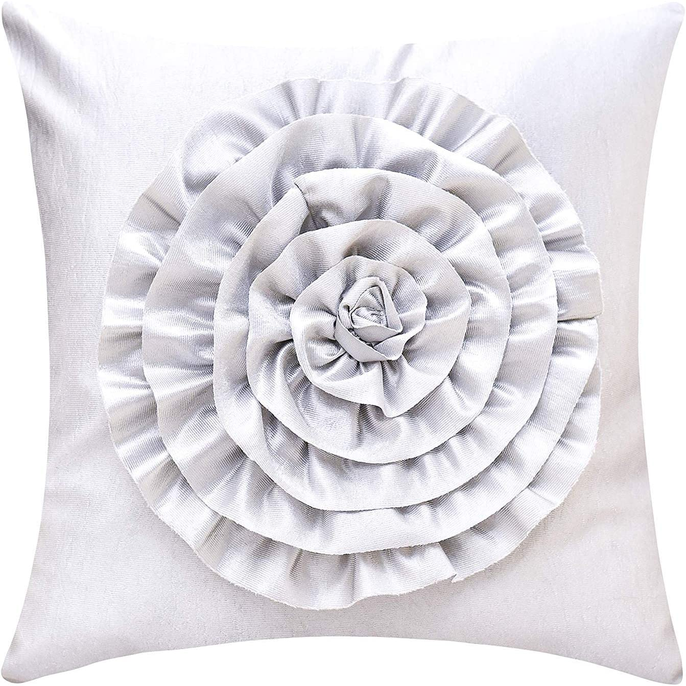 The White Petals Silver Throw Pillow Cover (3D Flower, 18x18 inch, Pack of 1)