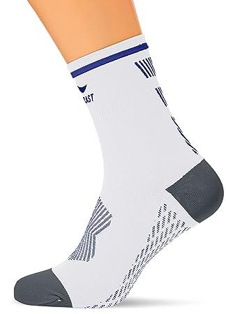 Sportlast Pro Calcetines de compresión para Ciclismo, Blanco/Azul, M