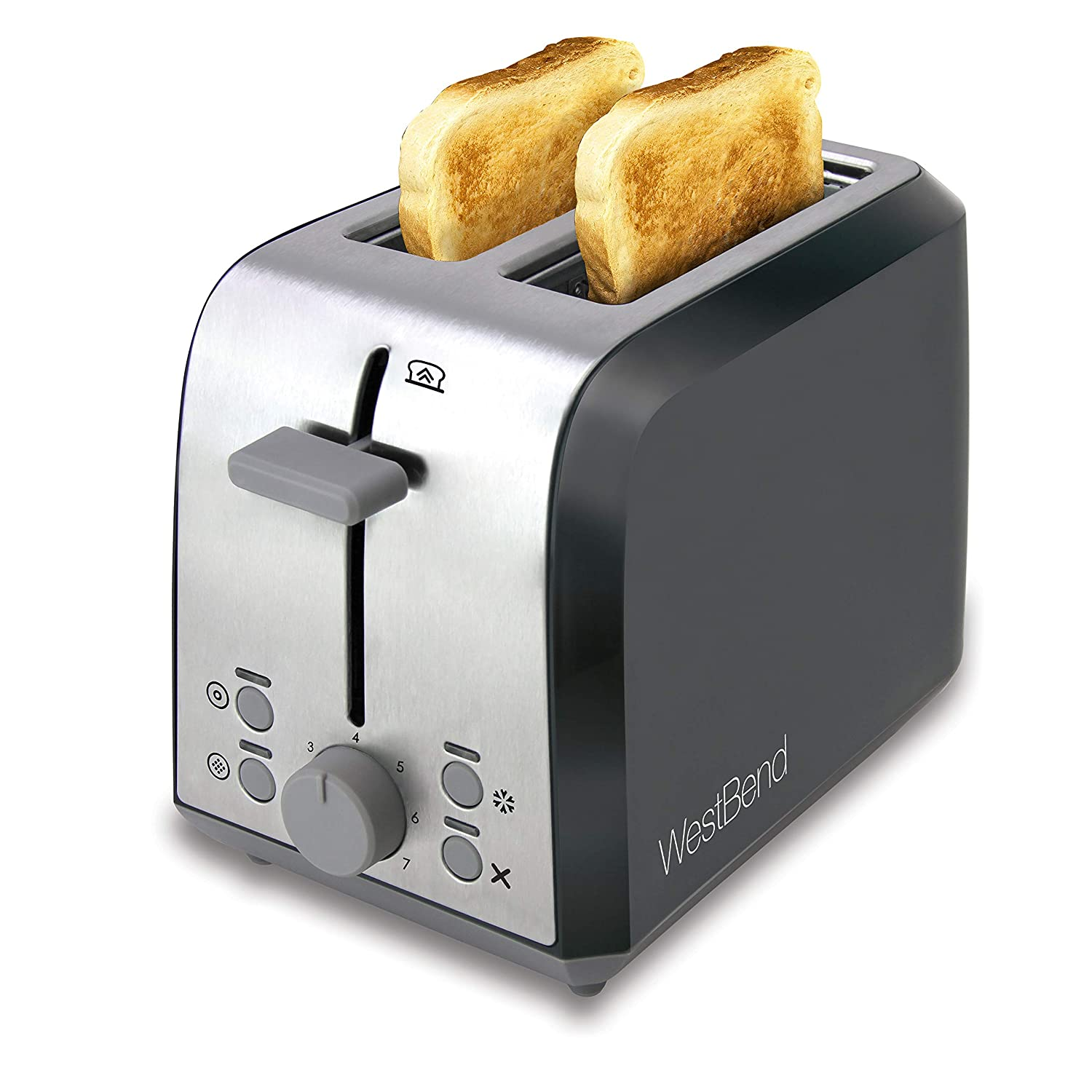 West Bend 78823 Extra Wide Slot Toaster with Bagel Settings Ultimate Toast Lift and Removable Crumb Tray, 1, Metallic
