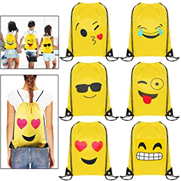 Emoji Bolsas de Cuerdas - 6 x MOOKLIN Emoji Mochilas Petates Infantiles para niños y niñas Cumpleaños Regalos invitados de Bodas Comuniones