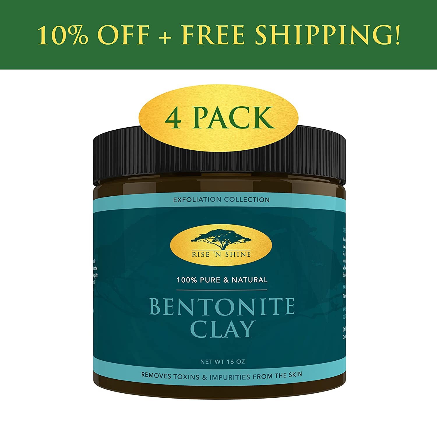(16 oz) Bentonite Clay Powder - 100% All Natural Face Mask Detox, Skin Pore Cleansing and Rejuvenates Skin and Hair - Helps Acne Psoriasis and Eczema - Pure Sodium Bentonite from Wyoming Rise 'N Shine Online
