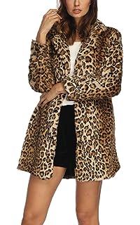 352a63be685 Luodemiss Women s Leopard Faux Fur Coat Winter Outerwear Long Sleeves Warm  Jacket Sexy Lapel Overcoat