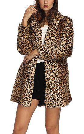 58fd193e52c82 Women s Leopard Faux Fur Coat Winter Outerwear Long Sleeves Warm Jacket  Sexy Lapel Overcoat