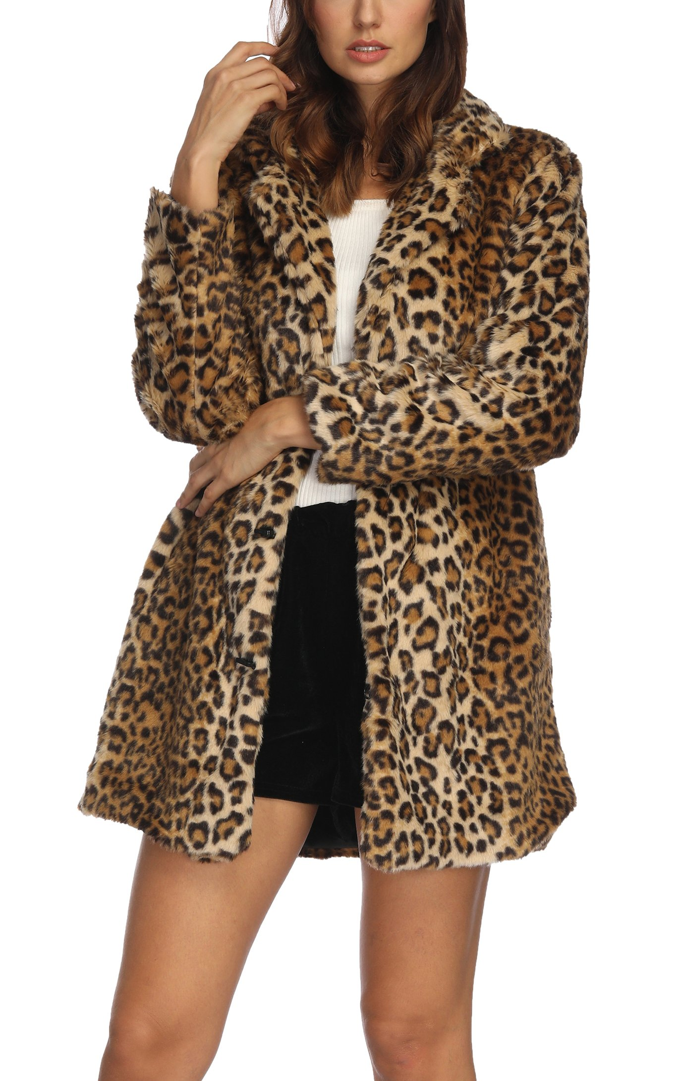 Women's Leopard Faux Fur Coat Winter Outerwear Long Sleeves Warm Jacket Sexy Lapel Overcoat,2XL Leopard