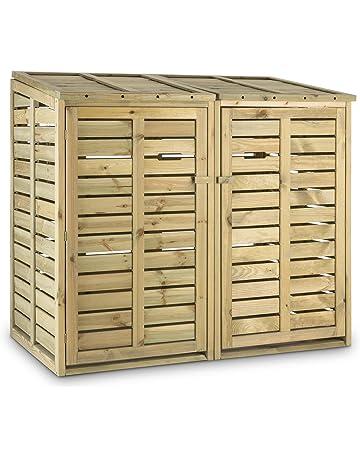 Waldbeck Ordnungshüter 2T Armario para contenedores de basura (145x130x87 cm, capacidad para 2 contenedores