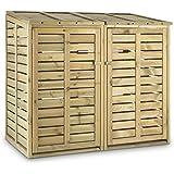 Waldbeck Ordnungshüter 2T Armario para contenedores de basura (145x130x87 cm, capacidad para 2 contenedores de 240L, 57 kg, tapa abatible con cadena, palanca abridora, certificada por la silvicultura europea, levantamiento simultáneo, madera de pino)