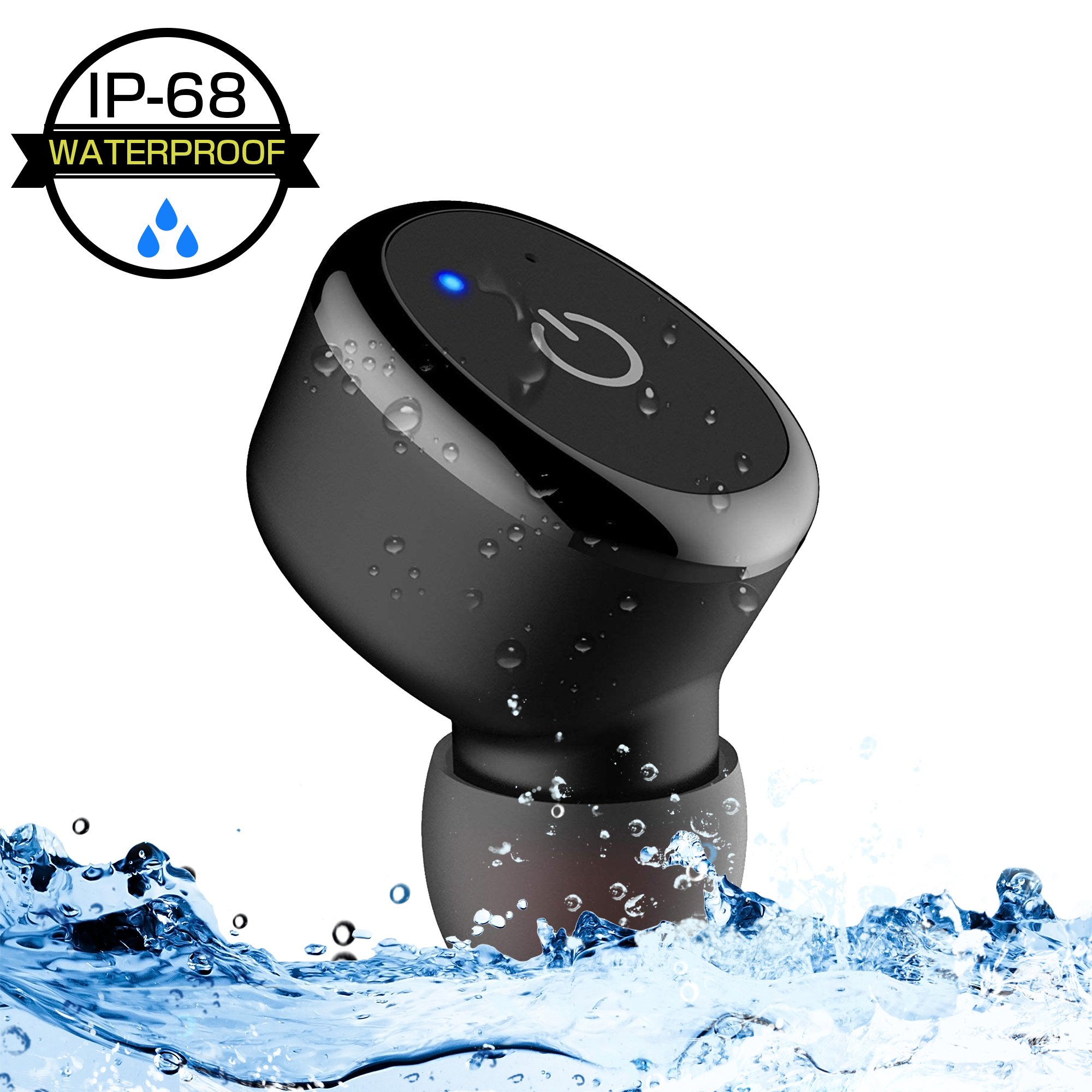 IPX8 Waterproof Earbud, MIBOTE Bluetooth V4.1 Wireless Earphone Mini Earpiece Sports Headset Car Headphone with Mic 6 Hours Play Time for iPhone iPad Samsung Android Cellphones (1 Piece)