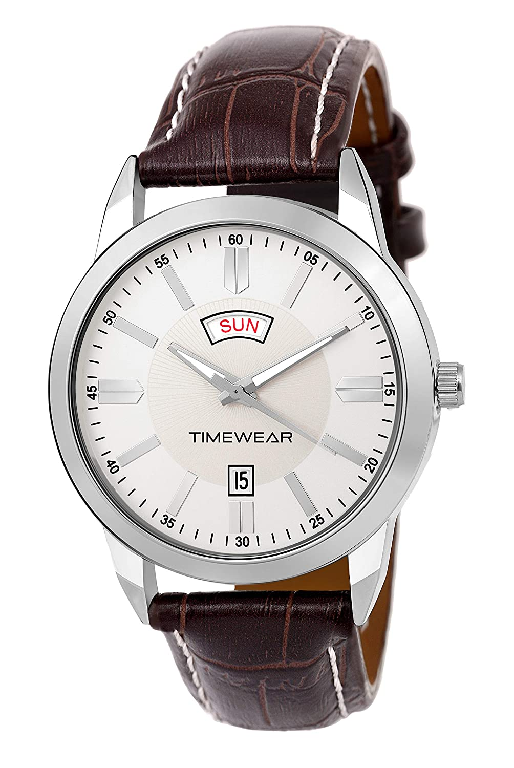 Timewear Formal Day Date Series Silver Dial Leather Strap
