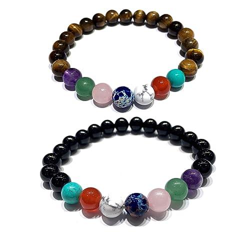 AZIEL JEWELRY 7 Chakra Energy Healing Bracelet with Natural Gemstone Beads Meditation Mala Yoga Stetch Bracelet for Women and Men