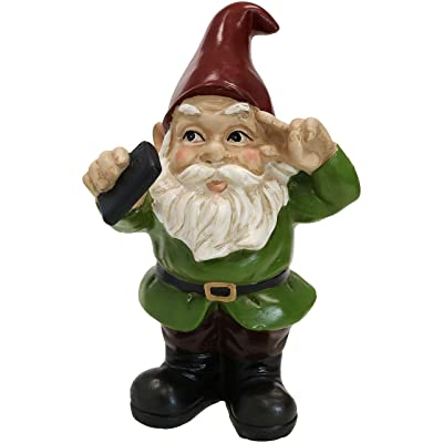 Sunnydaze Stanley The Selfie Garden Gnome, Outdoor Lawn and Yard Statue or Indoor Sculpture, 9-Inch : Garden & Outdoor