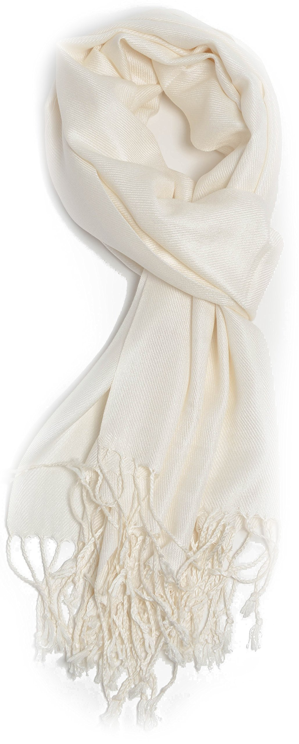 Large Soft Silky Pashmina Shawl Wrap Scarf in Solid Colors (Ivory)