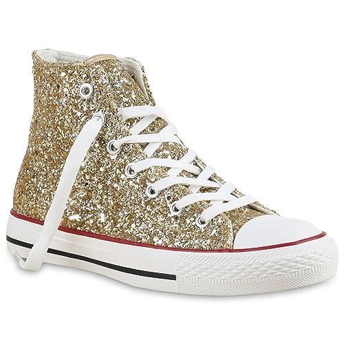 Flandell® - Zapatillas altas para mujer, de camuflaje, con purpurina, color Dorado, talla 40 EU: Amazon.es: Zapatos y complementos