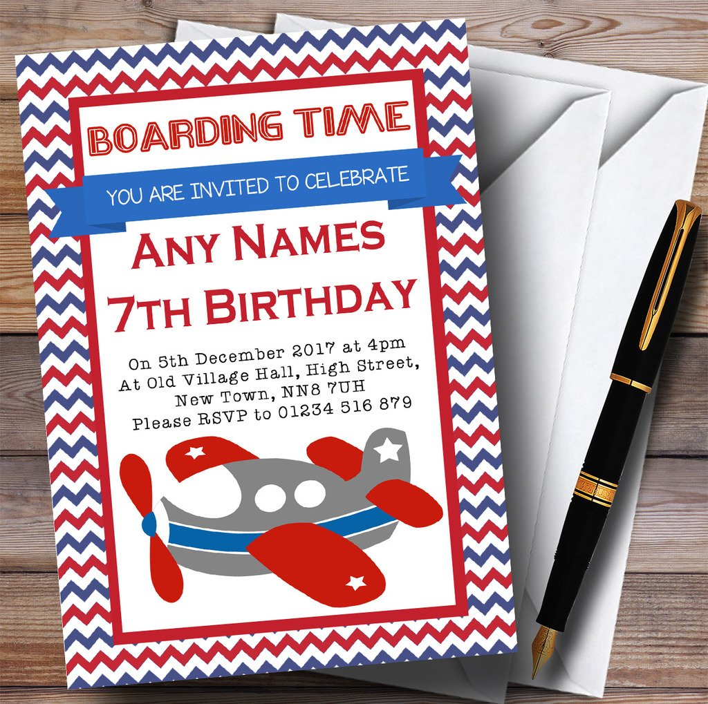 Blue & Red Chevrons Plane Childrens Birthday Party Invitations
