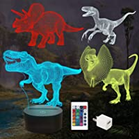FULLOSUN Dinosaur Bedside Lamp, 3D Hologram Illusion Night Light for Kids (4 Patterns) with Remote Control 16 Colors…