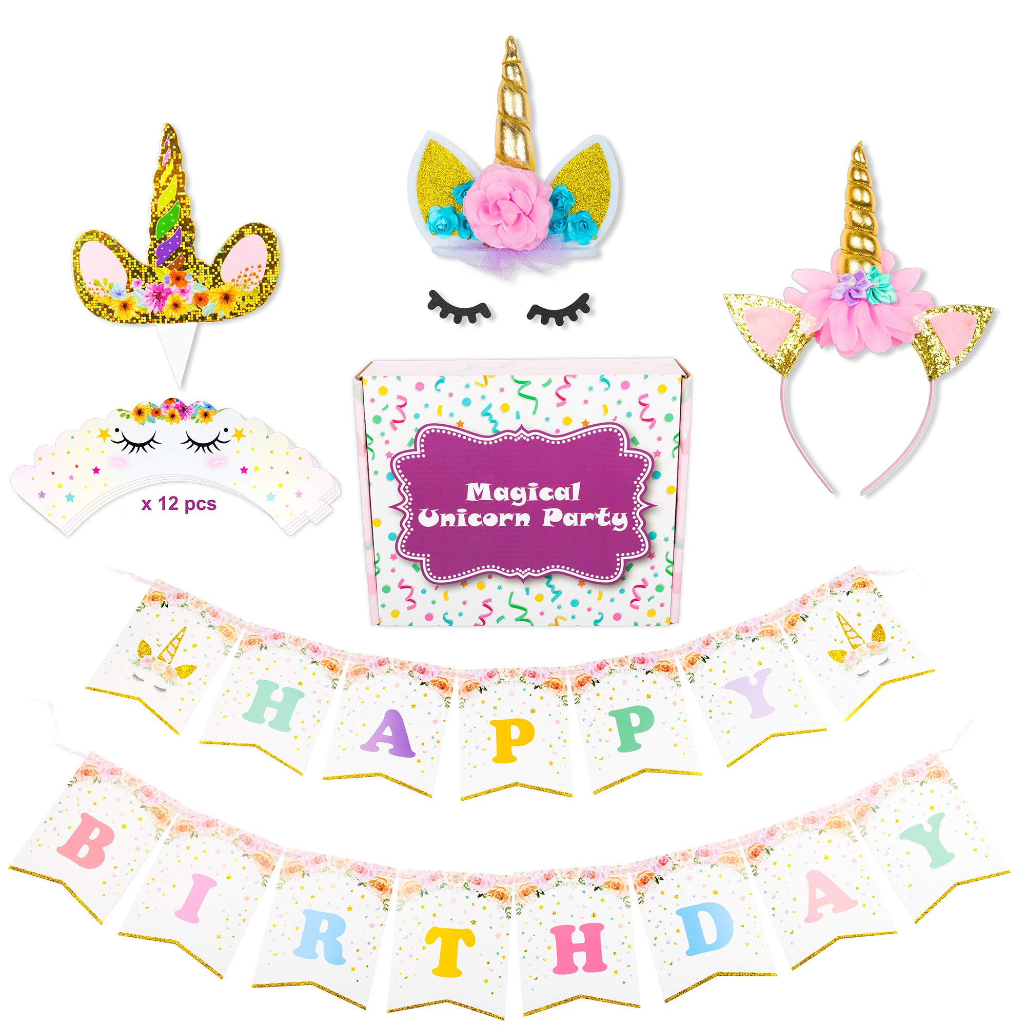 Magical Unicorn Party Supplies Decorations Set Pack, Happy Birthday Banner, Unicorn Golden Cake Topper with Eyelashes, Unicorn Golden Headband, x12 Unicorn Golden Cupcake Toppers, by RoTactX by RoTactX