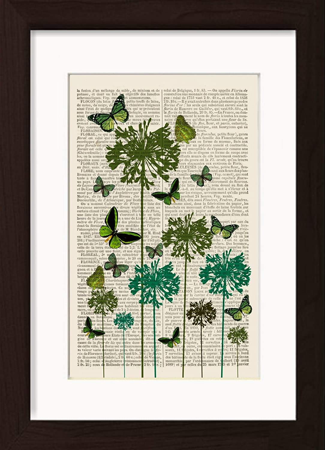 Green Butterflies On Green Flowers Mounted / Matted Ready To Frame Print