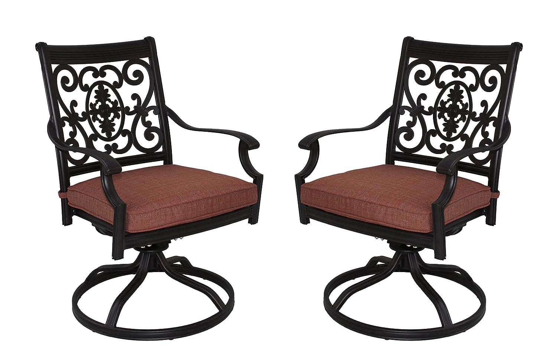 Darlee St. Cruz Cast Aluminum Swivel Rocker Dining Chair with Seat Cushion, Set of 2, Antique Bronze Finish