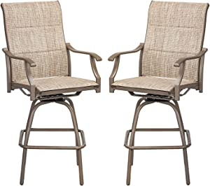 Swivel Bar Stools Outdoor Kitchen Bar Height Patio Chairs Padded Textilene All-Weather Tall Patio Furniture, 2 Pack