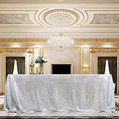 NUOBESTY Silver Foil Tablecloth Shiny Party Table Cloth Table Cover Party Supplies for Christmas Birthday Wedding Party