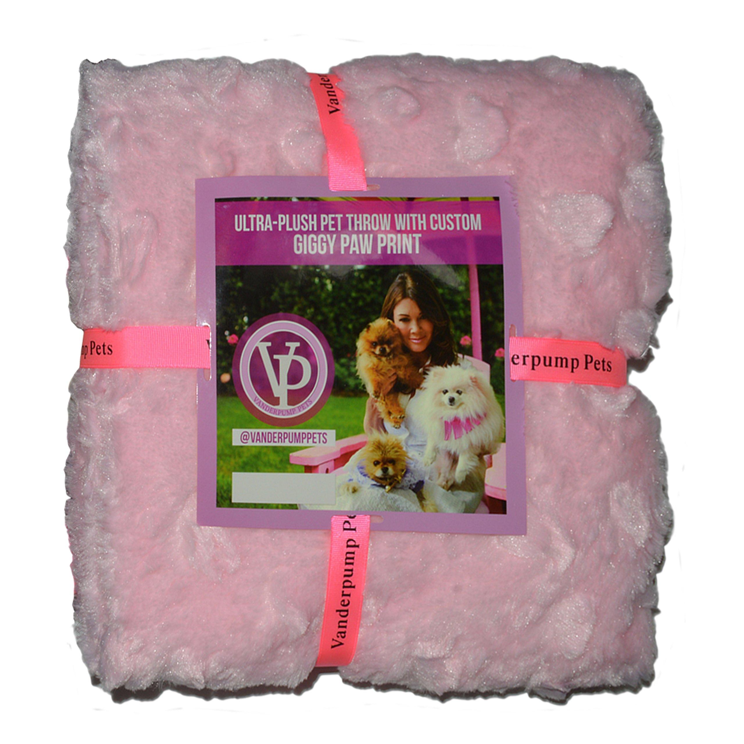 Vanderpump Pets Embroidered Plush Faux Fur Pet Blanket, Pink