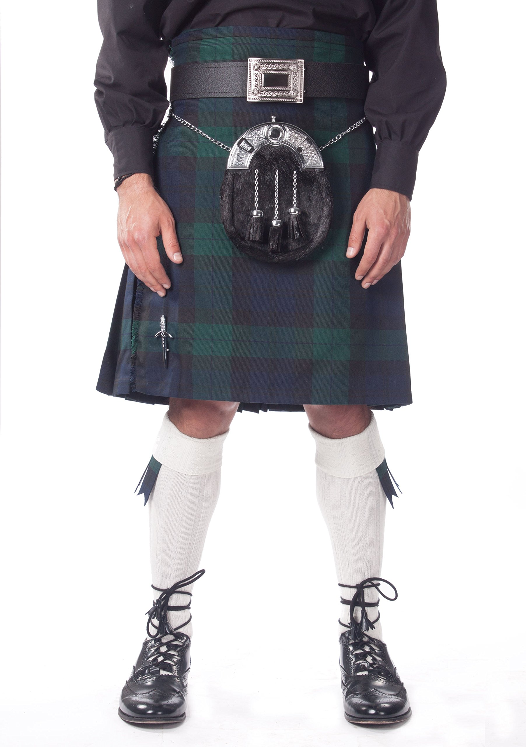 Kilt Society Mens 7 Piece Full Dress Kilt Outfit- Black Watch Tartan with White Hose 38'' to 42''