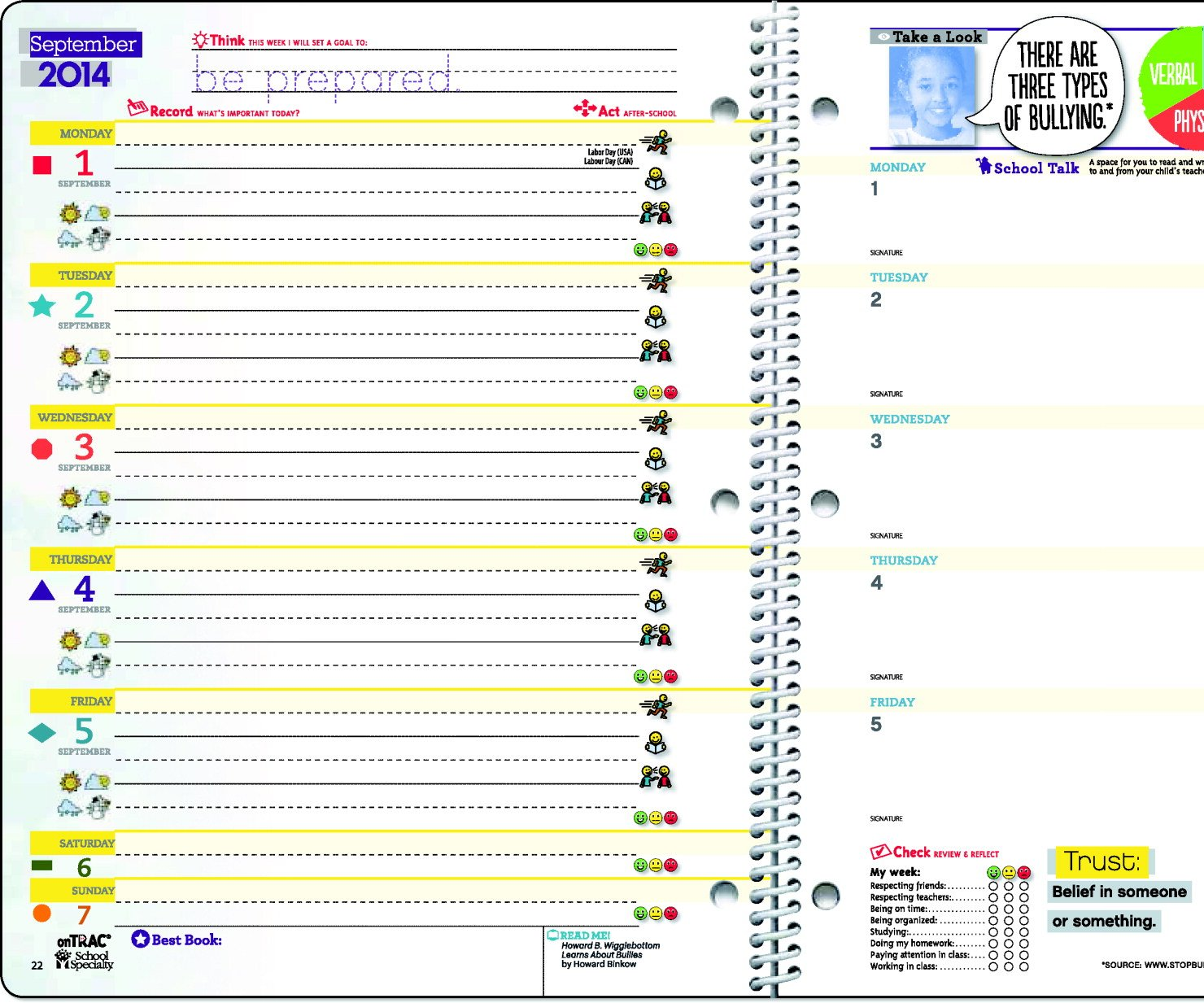 Raising Respect Primary School Student Planner, 8.5'' x 11'', 144 Sheets, Aug 2014 - July 2015