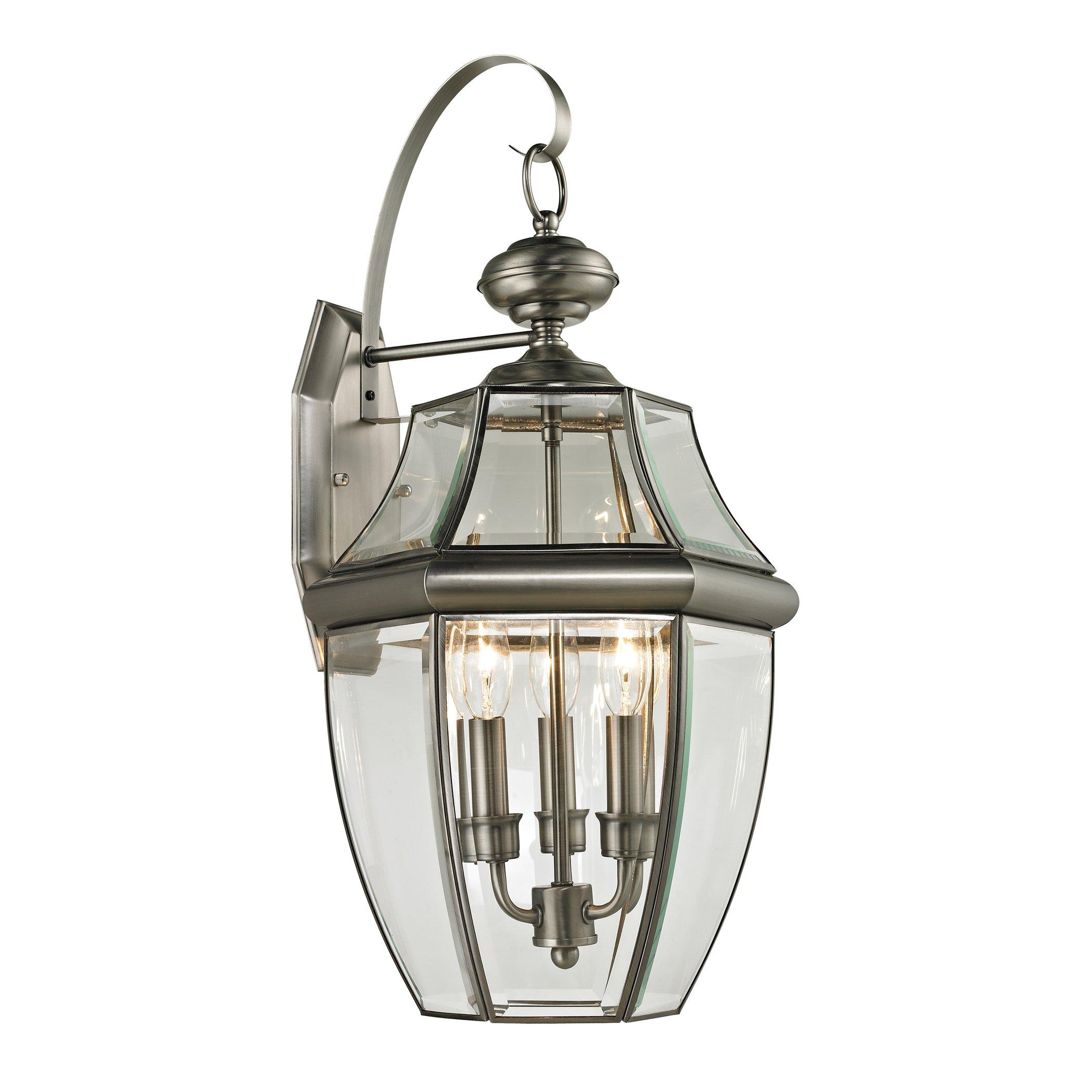 Cornerstone Lighting 8603EW/80 Ashford 3 Light Exterior Coach Lantern, Antique Nickel