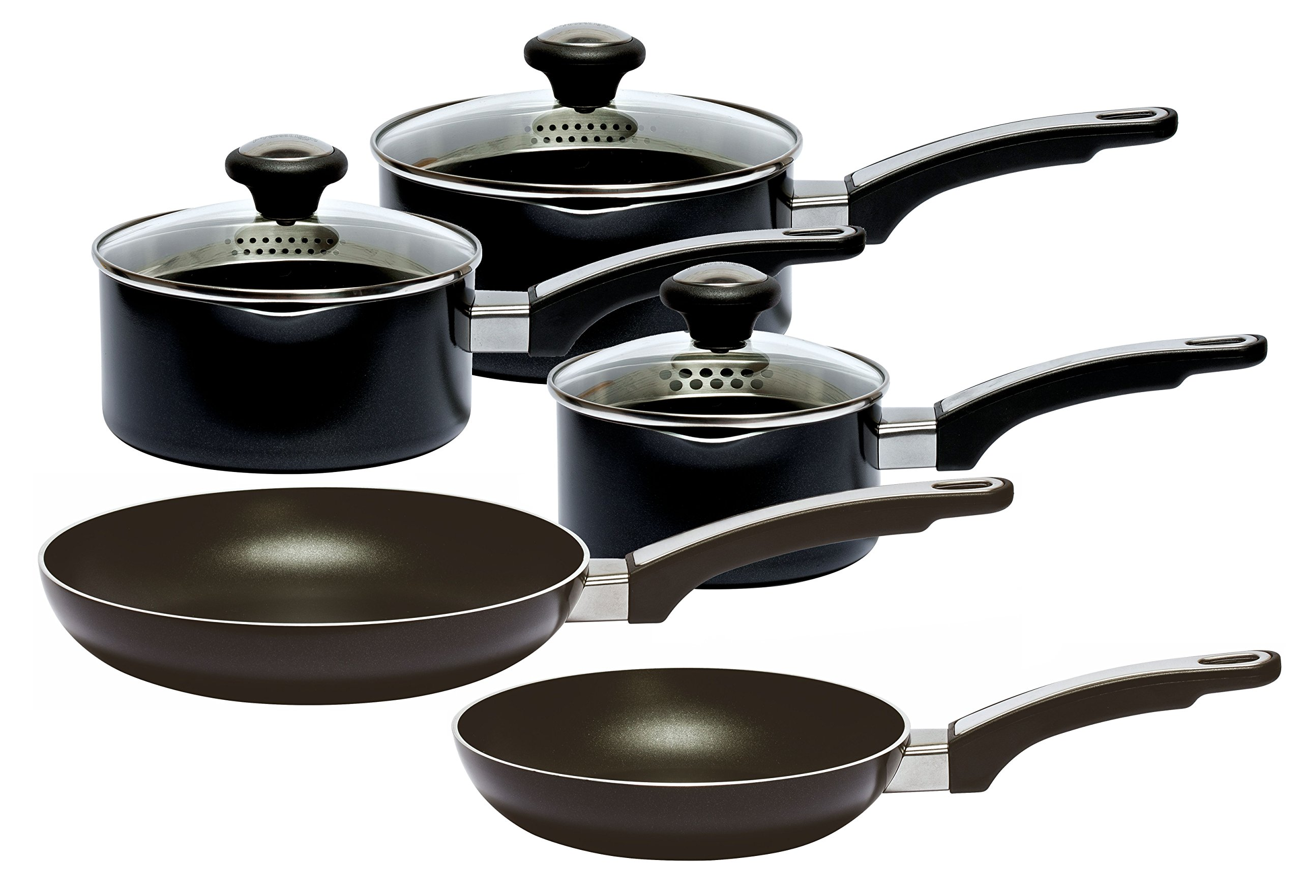 Prestige Everyday Straining Cookware Set, Aluminium, Black, Pack Of 5