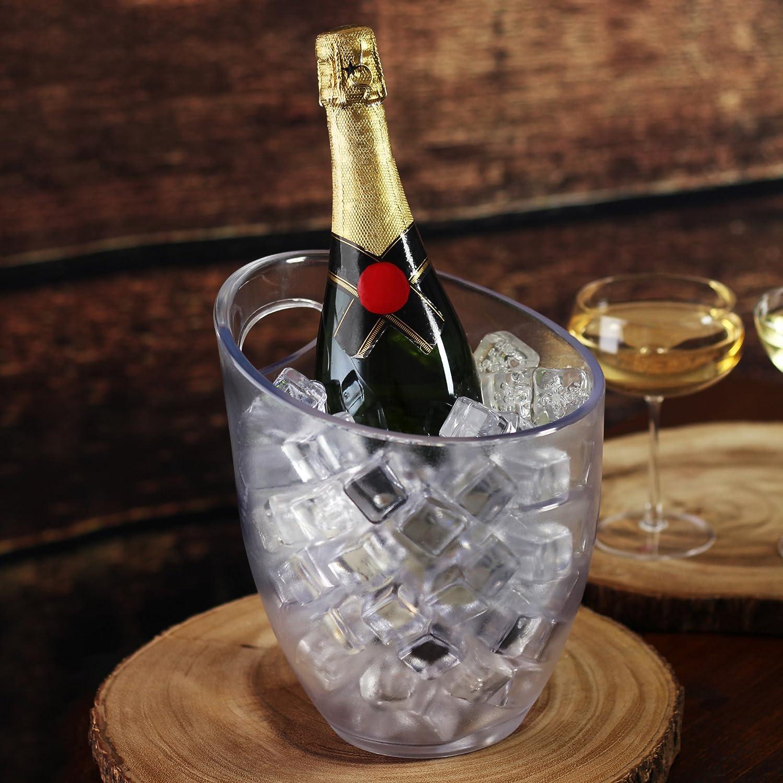 bar@drinkstuff Seau à glaçe,rafraichisseur de bouteille avec poignée 3 litres en plastique givré , peut contenir 1 bouteille de vin ou champagne