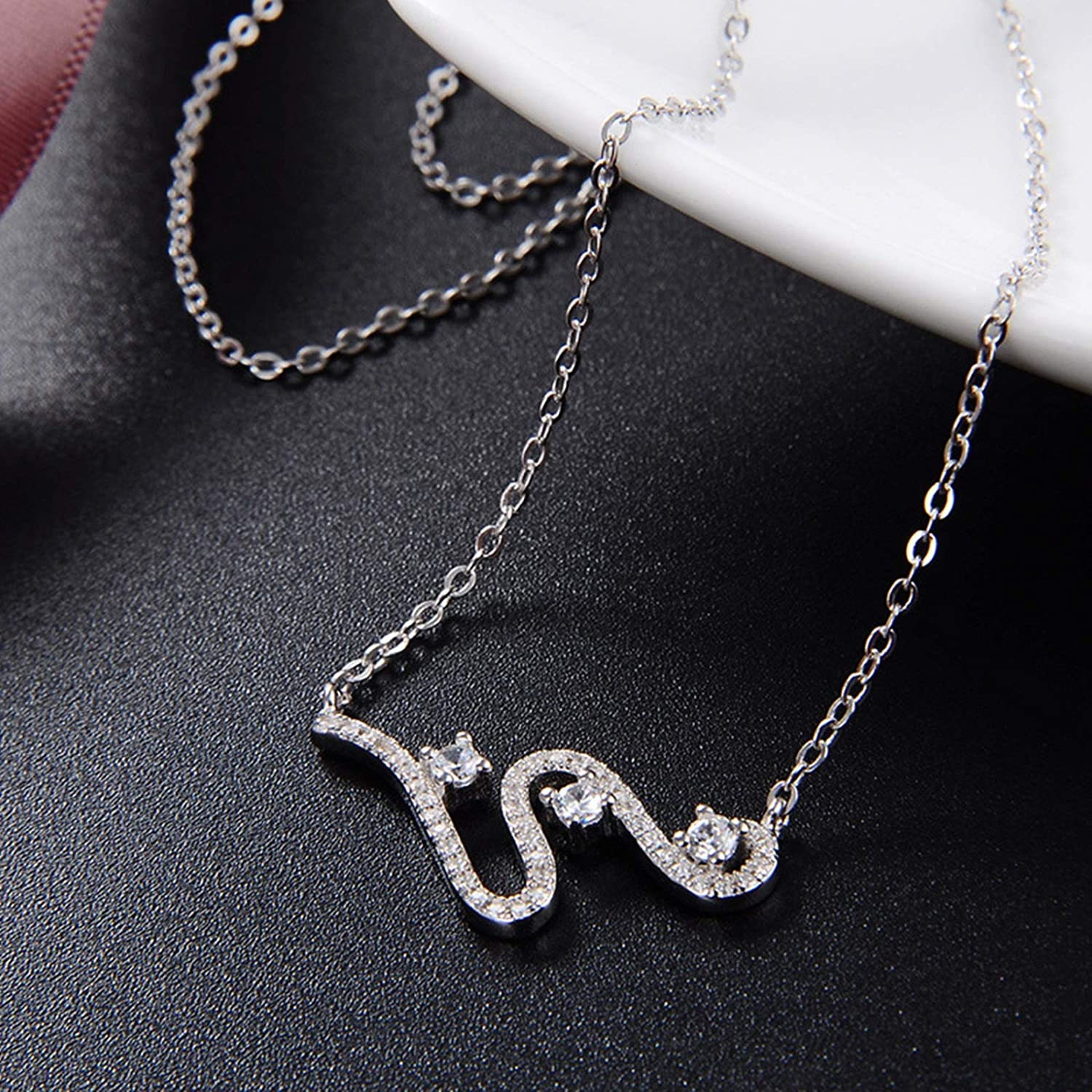 Aokarry 925 Sterling Silver S Shape Pendant Necklace for Women Silver 41+3CM