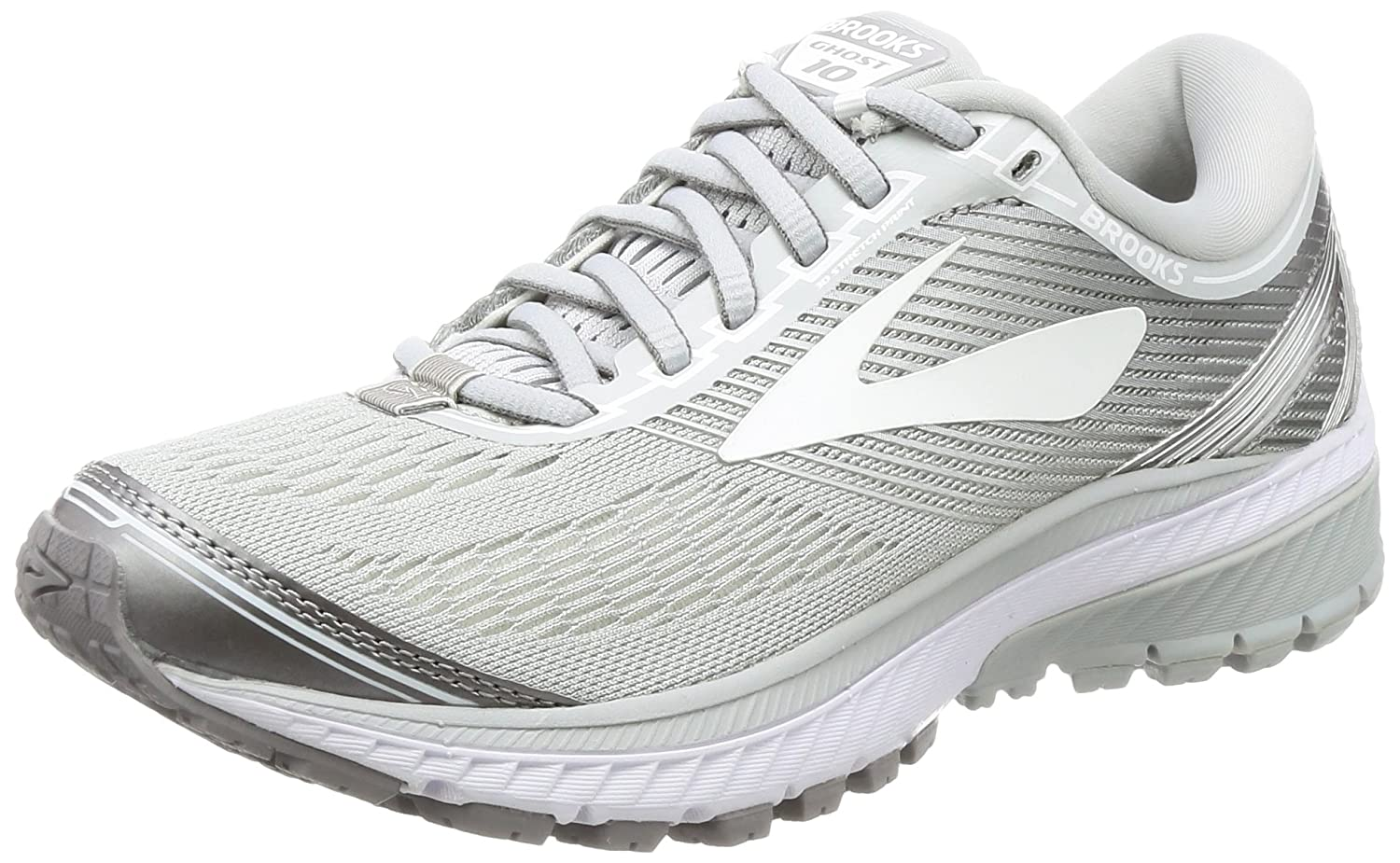 Brooks Women's Ghost 10 Running Shoe B01MQGIJ3Q 5.5 B(M) US|Microchip/White/Metallic Charcoal