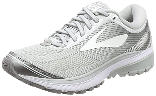 00f17535856 Brooks Women s Ghost 10 Microchip White Metallic Charcoal Athletic Shoe