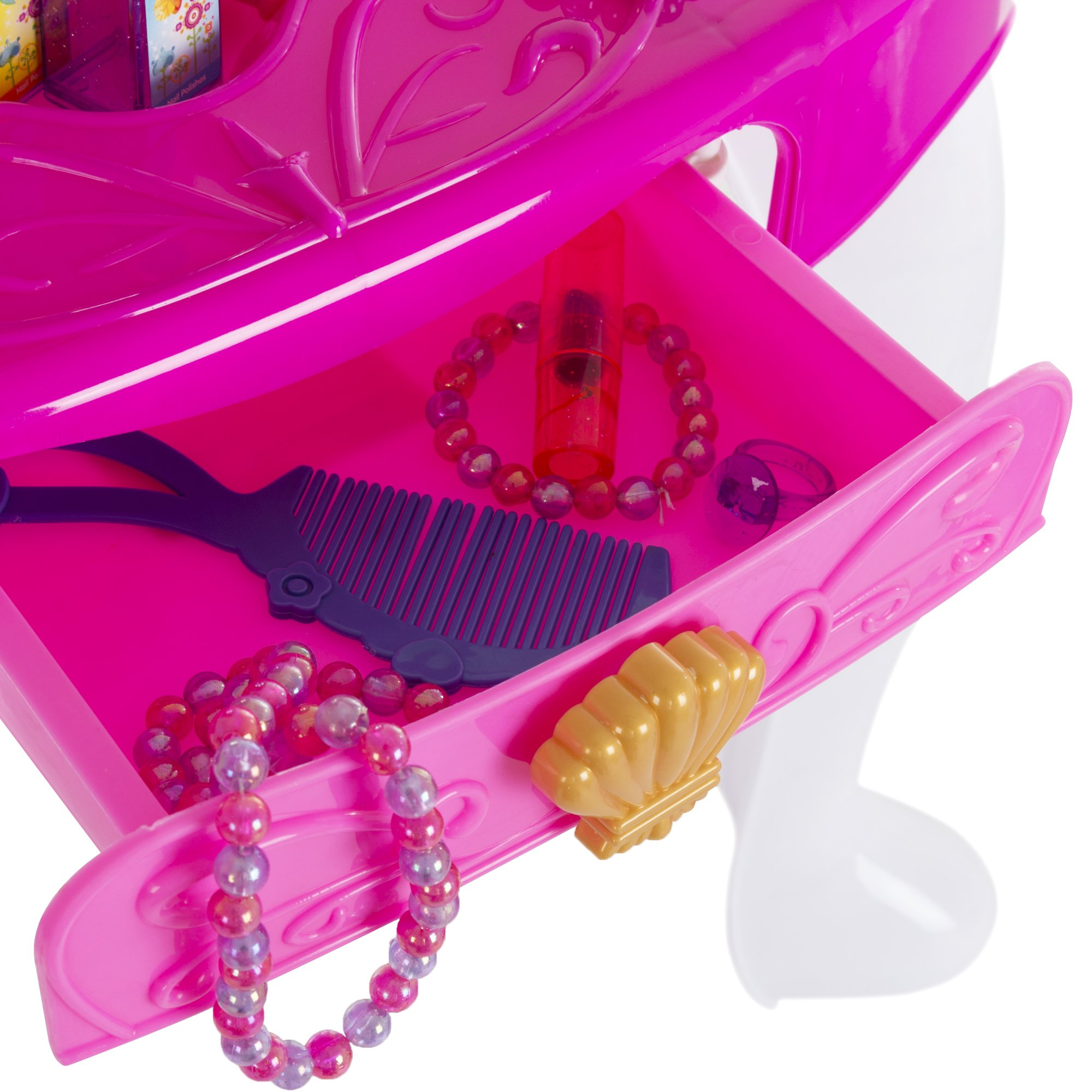 Deluxe Princess Vanity Set with Stool, Accessories, Lights, & Sound - 17 Peice Pretend Play Set! by Deluxe (Image #3)