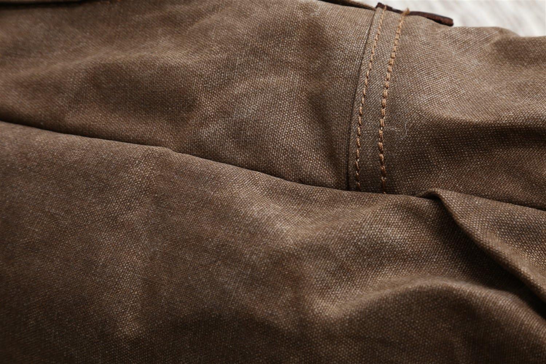 Shengjuanfeng Mens Shoulder Bag Oil Wax Canvas Bag Retro Crazy Horse Skin Backpack Batik Canvas Waterproof Backpack Color : Brown, Size : M