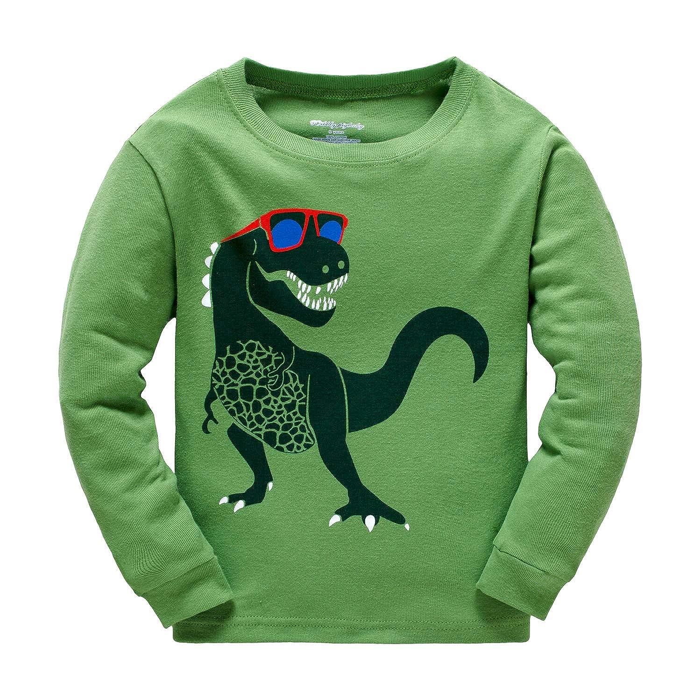 e7db6d76858 Popshion Boys Pyjamas Dinosaur Kids Pjs for Toddler Clothes Set 100% Cotton  Long Sleeve Nightwear Sleepwear 1 to 7 Years  Amazon.co.uk  Clothing