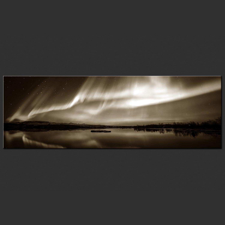 Decomonkey Akustikbild Polarlicht 120x40 cm 1 Teilig Bilder Leinwandbilder Schallschutz Wandbilder XXL Schallschlucker Schallschutz Leinwandbilder Akustikdämmung Wandbild Deko leise Landschaft Nordlicht schwarz grün 355e24