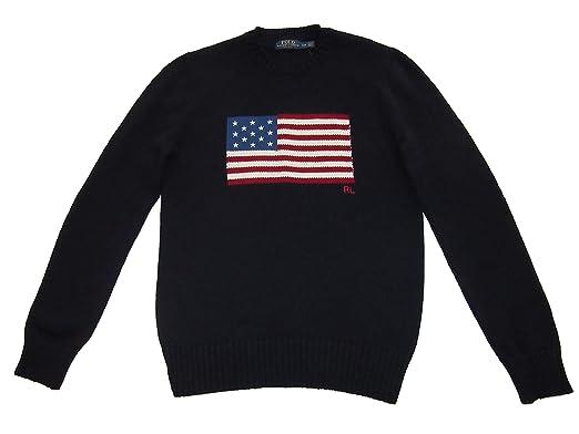1440c44c82f81f RALPH LAUREN Polo Mens USA Flag Knit Crewneck Cotton Sweater Blue (Medium)