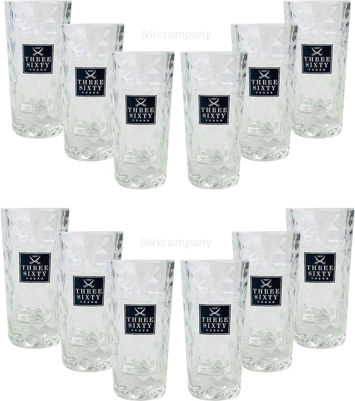 Three Sixty Vodka Wodka Shotgl/äser Gl/äser Glas Set 12 St/ück 2 und 4cl geeicht