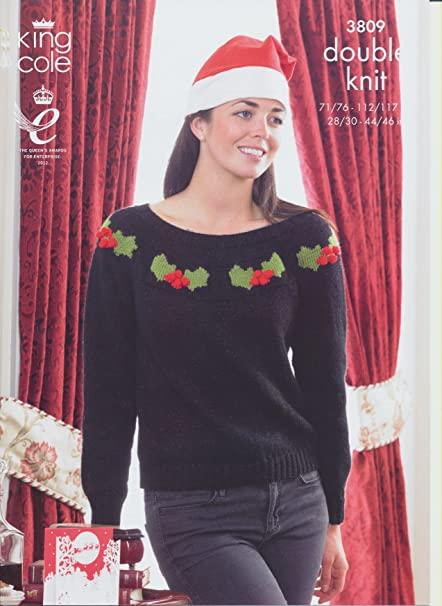 c3f374bc057 King Cole Ladies   Mens Double Knitting Pattern Womens Christmas Sweater  Holly Candycane 3809 by King Cole  Amazon.co.uk  Kitchen   Home