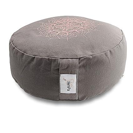 JamPa Yoga Pillow | Zafu Meditation Cushion | Filled with Buckwheat Hulls | Round