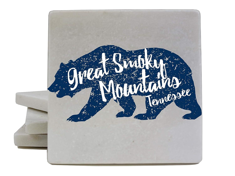 グレートスモーキーマウンテンズ ガトリンブルグ テネシー国立公園 クマのお土産 大理石コースター 4個パック   B07J4X61QN