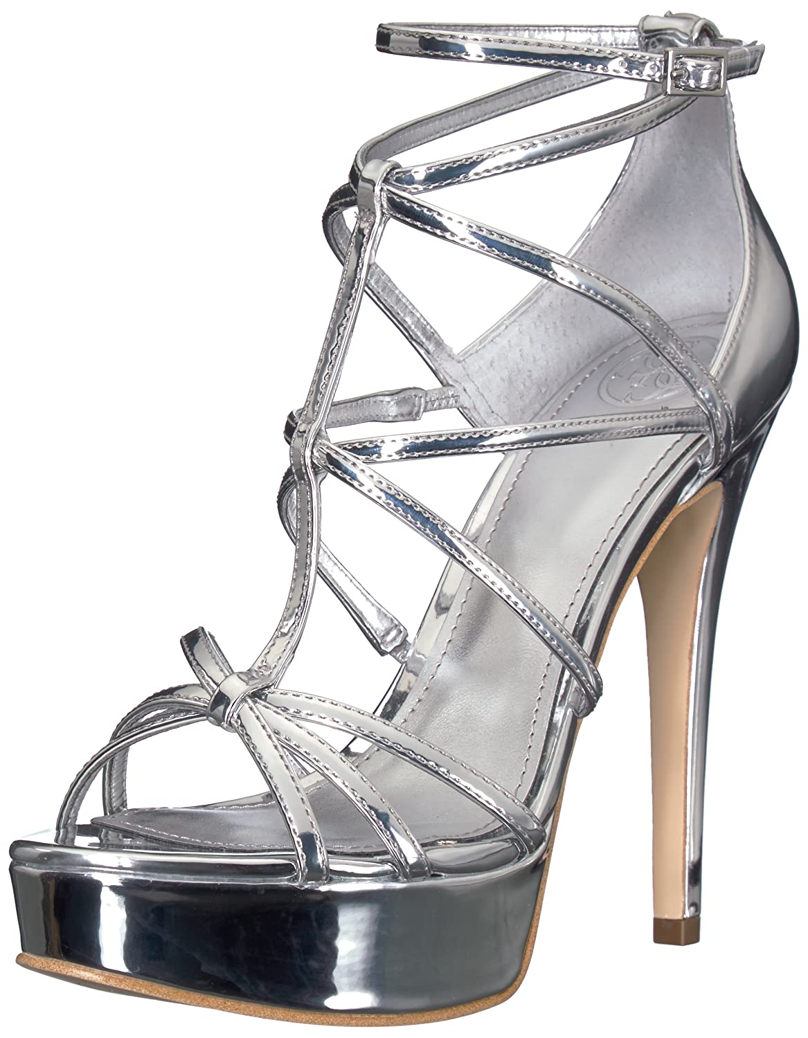 Silver GUESS Womens Kico Heeled Sandal